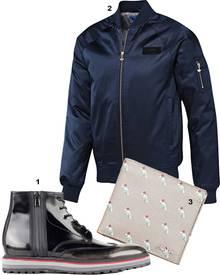 1. Stiefel von Hugo, ca. 329 Euro; 2. Bomberjacke von Adidas Originals, ca. 130 Euro; 3. Geldbörse von Prada, 250 Euro