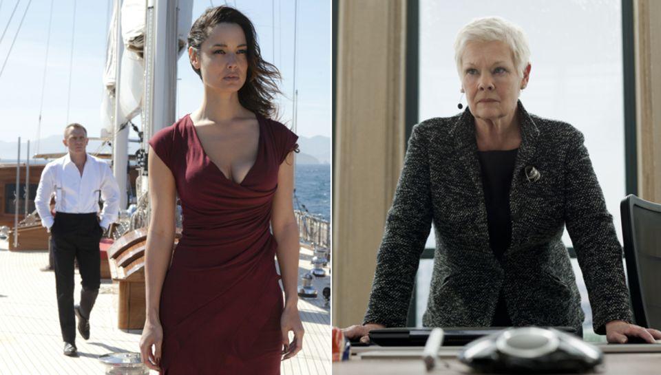 """Die zwei Frauen in """"James Bonds"""" Leben: Love-Interest """"Sévérine"""" (Bérénice Marlohe) und Chefin """"M"""" (Judy Dench)."""