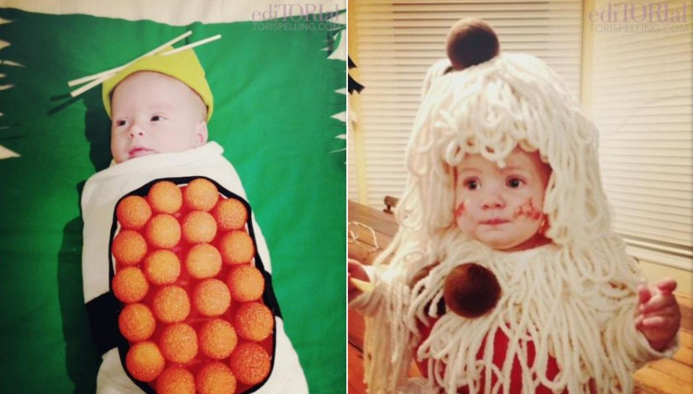 Sushi und Spaghetti mit Fleischbällchen: So sahen Finn und Hattie an Halloween aus.