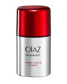 """Der """"Regenerist Falten-Entspannungskomplex"""" will das Hautbild innerhalb von zehn Minuten sichtbar verbessern. Von Olaz, 50 ml, c"""