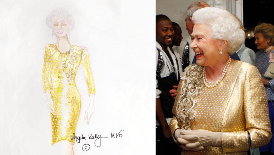 Den Stoff für das goldene Kleid, das Elizabeth II. im Juni zum Konzert ihres Diamantenen Thronjubiläums trug, fand Kelly im köni