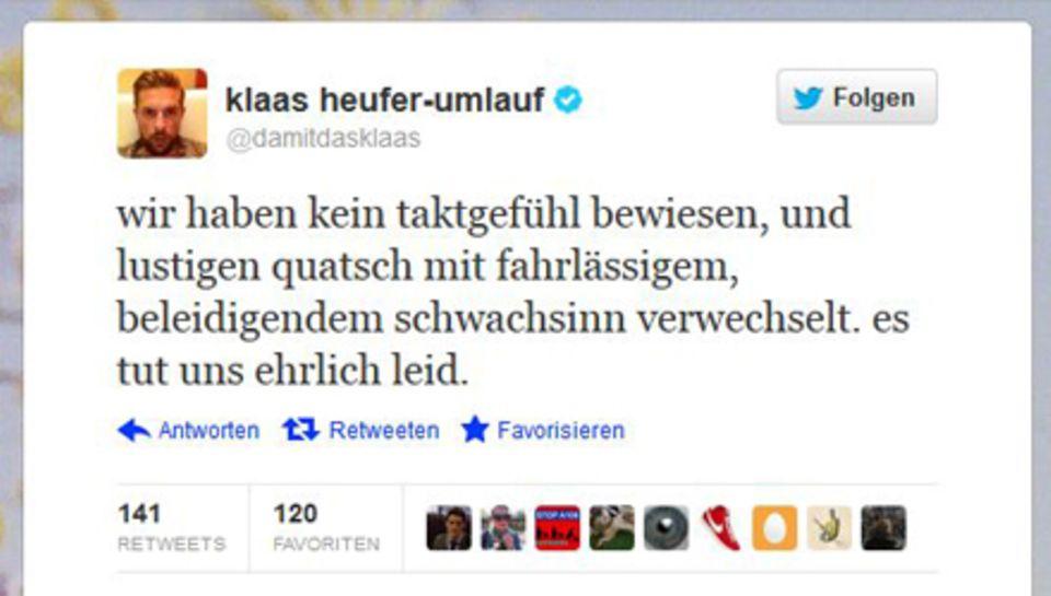 Klaas Heufer-Umlauf entschuldigt sich über Twitter.