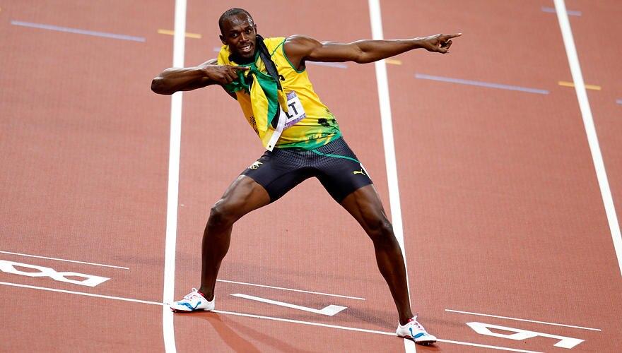 """Die große Usain-Show: Nach seinen überlegenen Siegen macht er den """"Bogenschützen"""". In London hatte er dazu dreimal Gelegenheit,"""