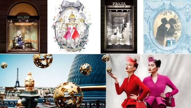 Ob Schaufensterdekoration oder zarte Illustration - die Luxusmarken verstehen es, stimmungsvoll auf Weihnachten ein zu stimmen.