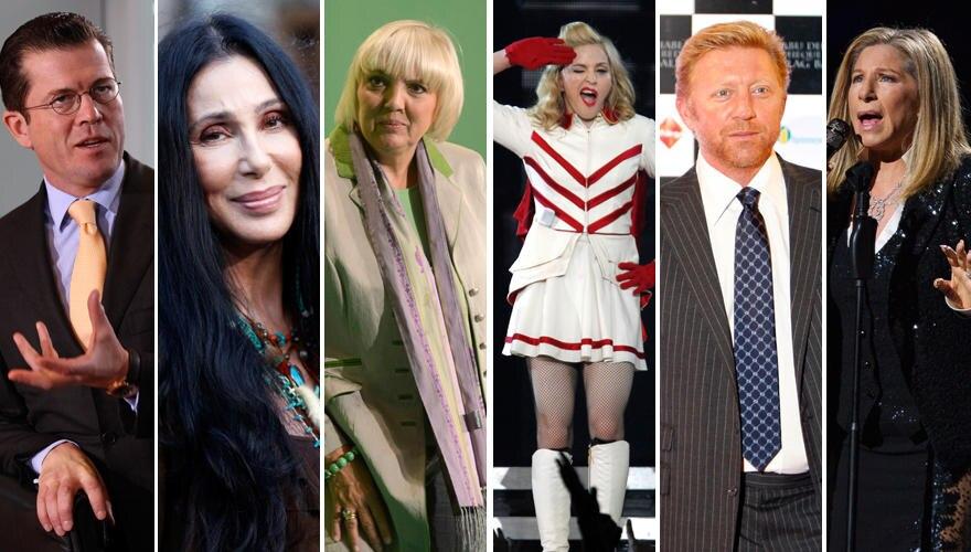 Stars wie Karl-Theodor zu Guttenberg, Cher, Claudia Roth, Madonna, Boris Becker und Barbara Streisand, fällt es schwer ihre Karr