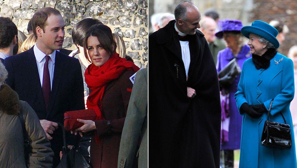 Während William und Catherine am ersten Weihnachtstag einen Gottesdienst in Berkshire besuchten, zeigte sich die Queen gut gelau