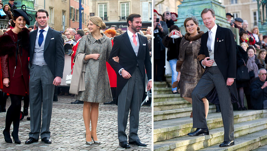 Félix von Luxemburg und seine Verlobte Claire Lademacher, Guillaume von Luxemburg und Stéphanie sowie Henri von Luxemburg und Ma