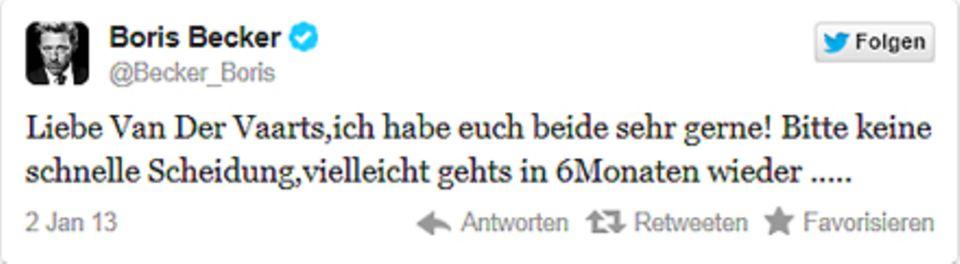 Mit diesem Tweet vom Mittwoch (2. Januar) handelte sich Boris Becker (@becker_boris) mal wieder Twitter-Spott ein.
