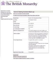Ab 15. Januar 2013 kann der neue Tellerwäscher der Queen seinen Job im Buckingham Palace antreten.