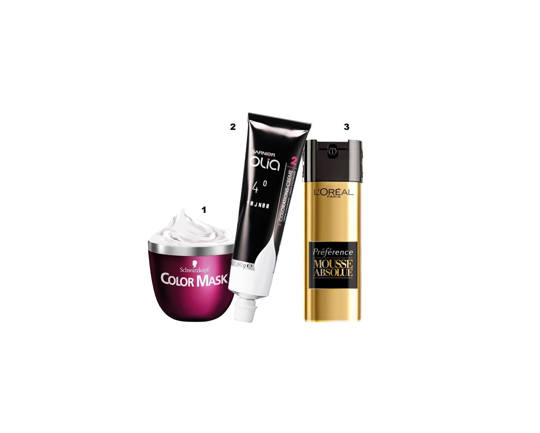 "Haarfarben: 1 ""Color Mask Luminous Browns"", von Schwarzkopf, ab ca 8 € (ab April) 2 ""Olia""-Koloration, von Garnier, ca. 7 Euro 3 ""Mousse Absolue"", L'Oréal Paris, ca. 12 Euro (ab März)"
