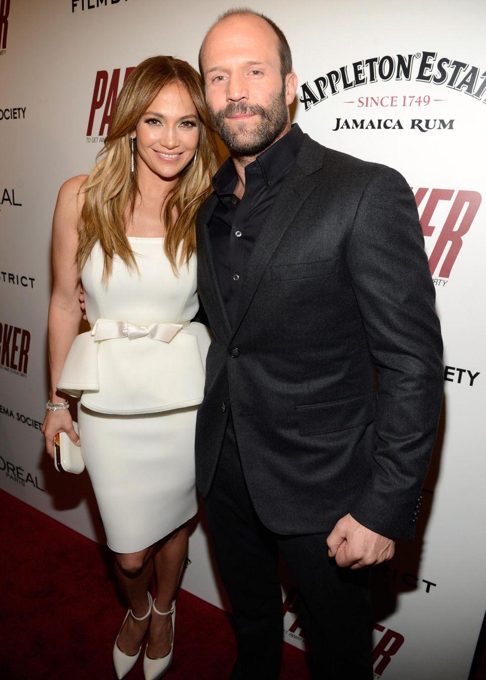 """Jennifer Lopez und Jason Statham werben in New York für ihren gemeinsamen Film """"Parker""""."""