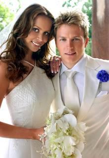 Kimi Räikkönen und Jenni Dahlmann bei ihrer Hochzeit im Juli 2004.