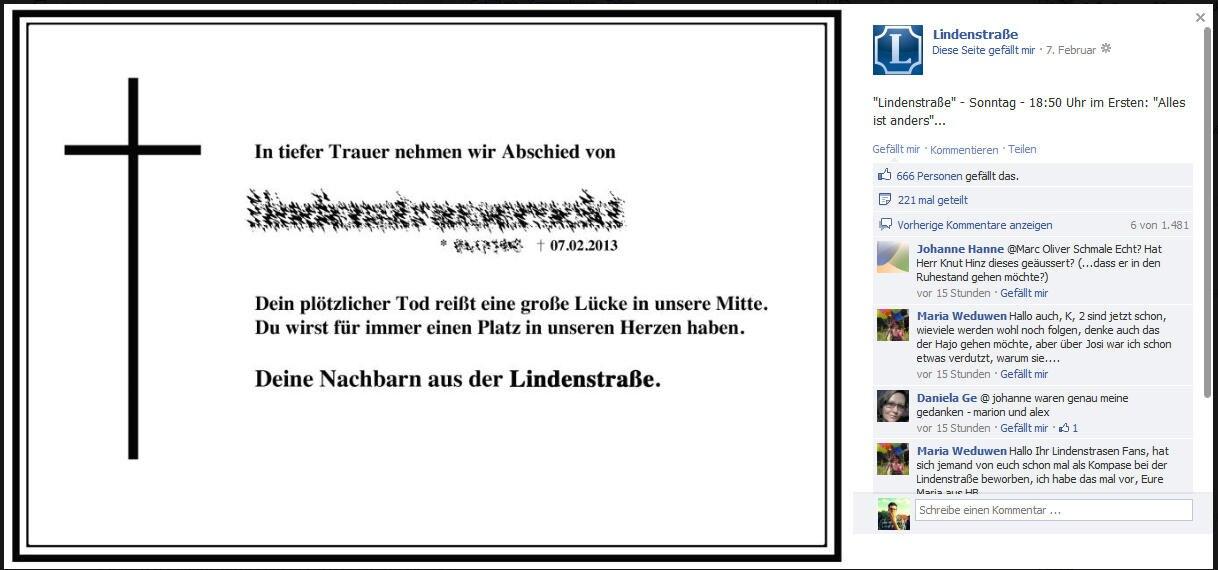 verschleierte Todesanzeige, die auf Facebook veröffentlicht wurde
