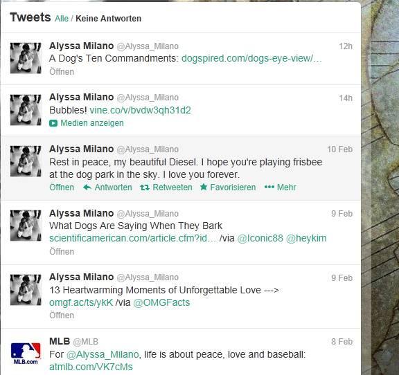 Alyssa Milano: So trauerte Alyssa Milano auf Twitter um ihren toten Hund