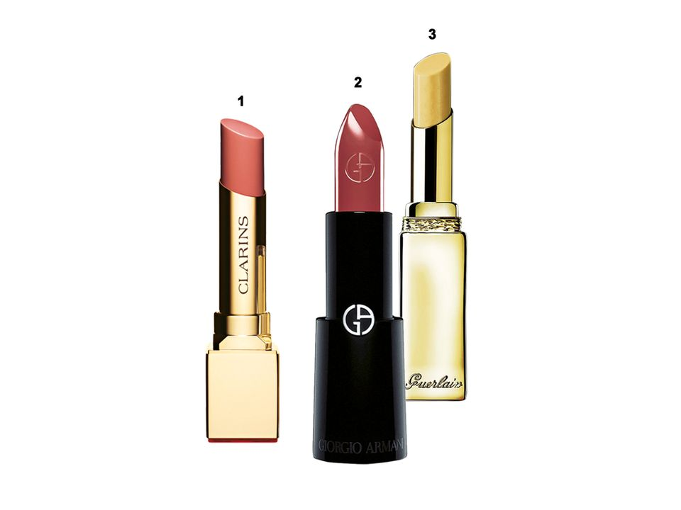 "1. Farbe plus Anti-Aging: ""Rouge Eclat"" von Clarins, 15 Nuancen, ca. 22 Euro  2. ""Rouge d'Armani"" von Giorgio Armani, Nr. 500, ca. 32 Euro  3. Glanz und Volumen: ""Kiss Kiss Liplift"" von Guerlain, ca. 27 Euro"