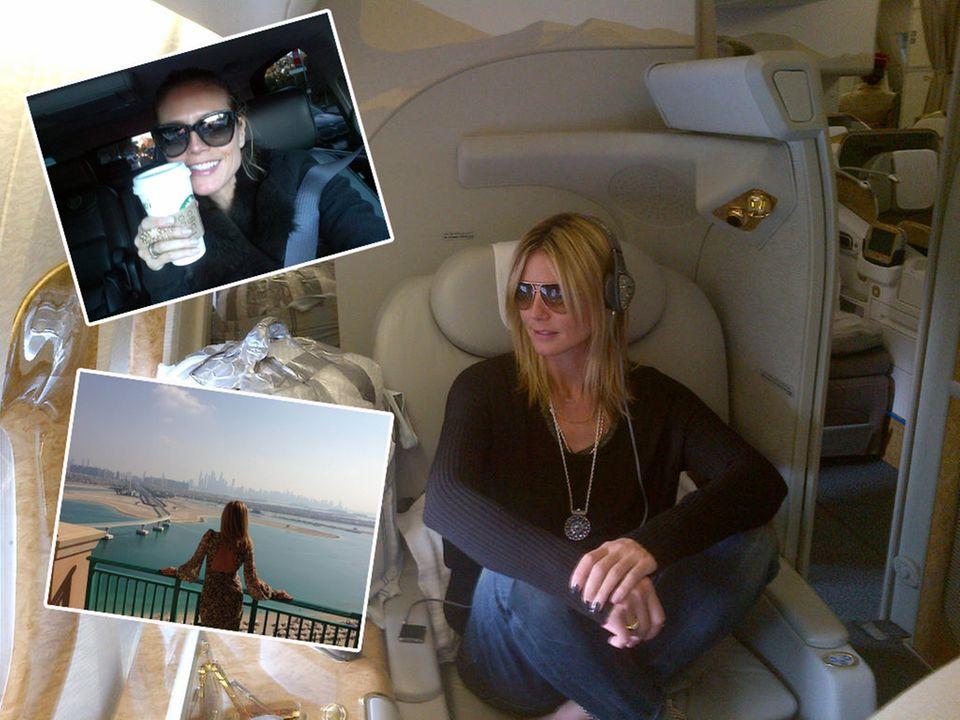 """Weltenbummlerin Heidi: In ihrer """"zweiten Heimat"""", dem Flugzeug, auf dem Balkon des Hotels """"Atlantis"""" in Dubai und unterwegs mit einem Cappuccino, dem besten Wachmacher an langen Drehtagen."""