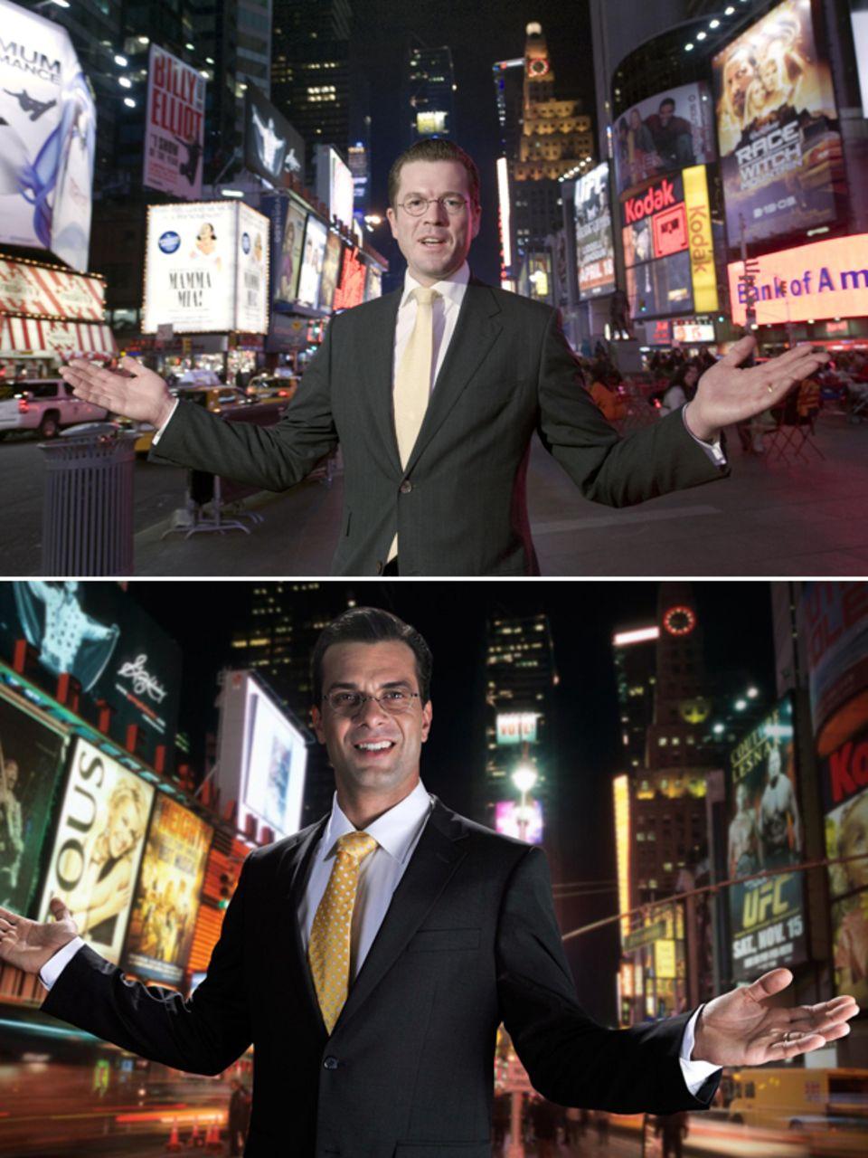 Der New York Auftritt  Bei seinem Antrittsbesuch in den USA posiert der frischgebackene Bundeswirtschaftsminister am 15. März auf dem Times Square. Unten die Szene im TV-Film.