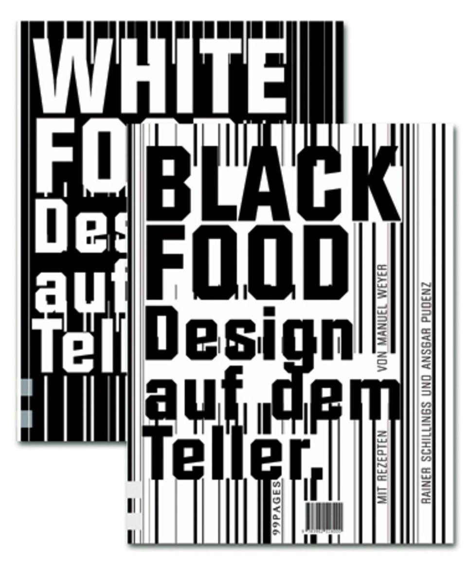 """Das preisgekrönte Schwarz-Weiß-Kochbuch setzt mit """"dunklen"""" Rezepten wie Medaillons vom schwarzen Seeteufel oder """"weißen"""" Tipps wie Blumenkohlschaumsuppe auf köstliche Küchenkontraste. (""""Black & White Food - Design auf dem Teller"""", 99Pages Verlag, 104 S., 20 Euro)"""