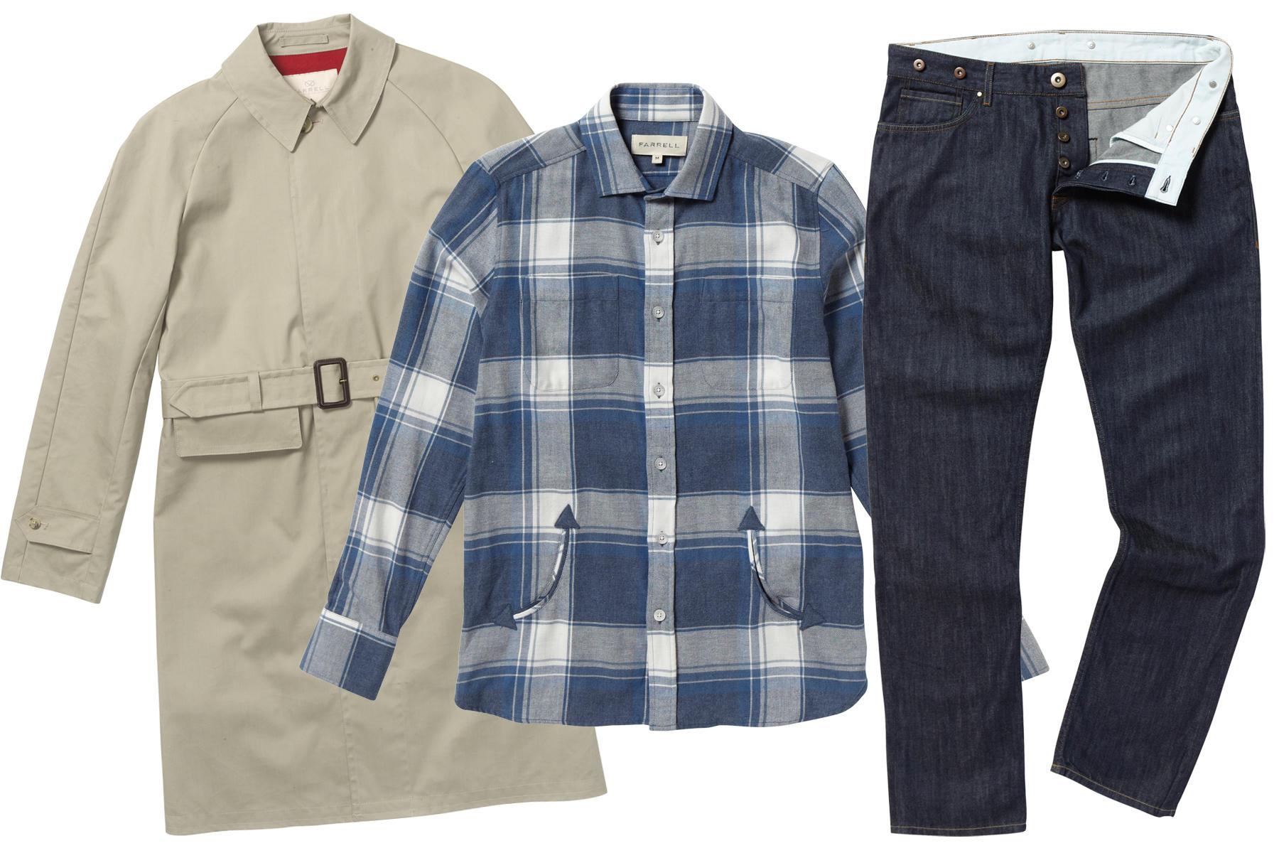 Links: beiger Trenchcoat; Mitte: kariertes Hemd mit Eingrifftaschen; Rechts: Bluejeans mit Knopfleiste in Vintage-Optik