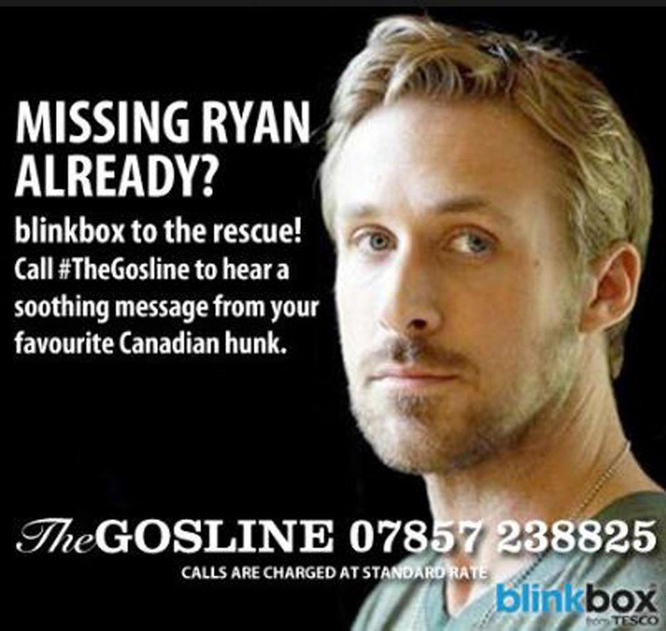 Vermissen Sie Ryan Gosling auch schon? Der Anruf bei dieser Nummer könnte aus Deutschland jedoch etwas teuer werden.