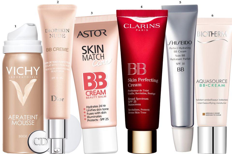 """1. """"Aerateint Mousse"""", Schaum- Make-up mit BB-Cream-Technologie, von Vichy, 50 ml ca. 18 Euro; 2. """"Diorskin Nude BB Cream"""" von Dior, 30 ml, ca. 40 Euro; 3. """"Skin Match Care BB Cream"""" von Astor, 30 ml, ca. 7 Euro; 4. """"BB Skin Perfecting Cream"""" von Clarins, 30 ml, ca. 33 Euro; 5. """"Perfect Hydrating BB Cream"""" von Shiseido, 30 ml, ca. 34 Euro; 6. """"Aquasource BB Cream"""" von Biotherm, 30 ml, ca. 25 Euro"""