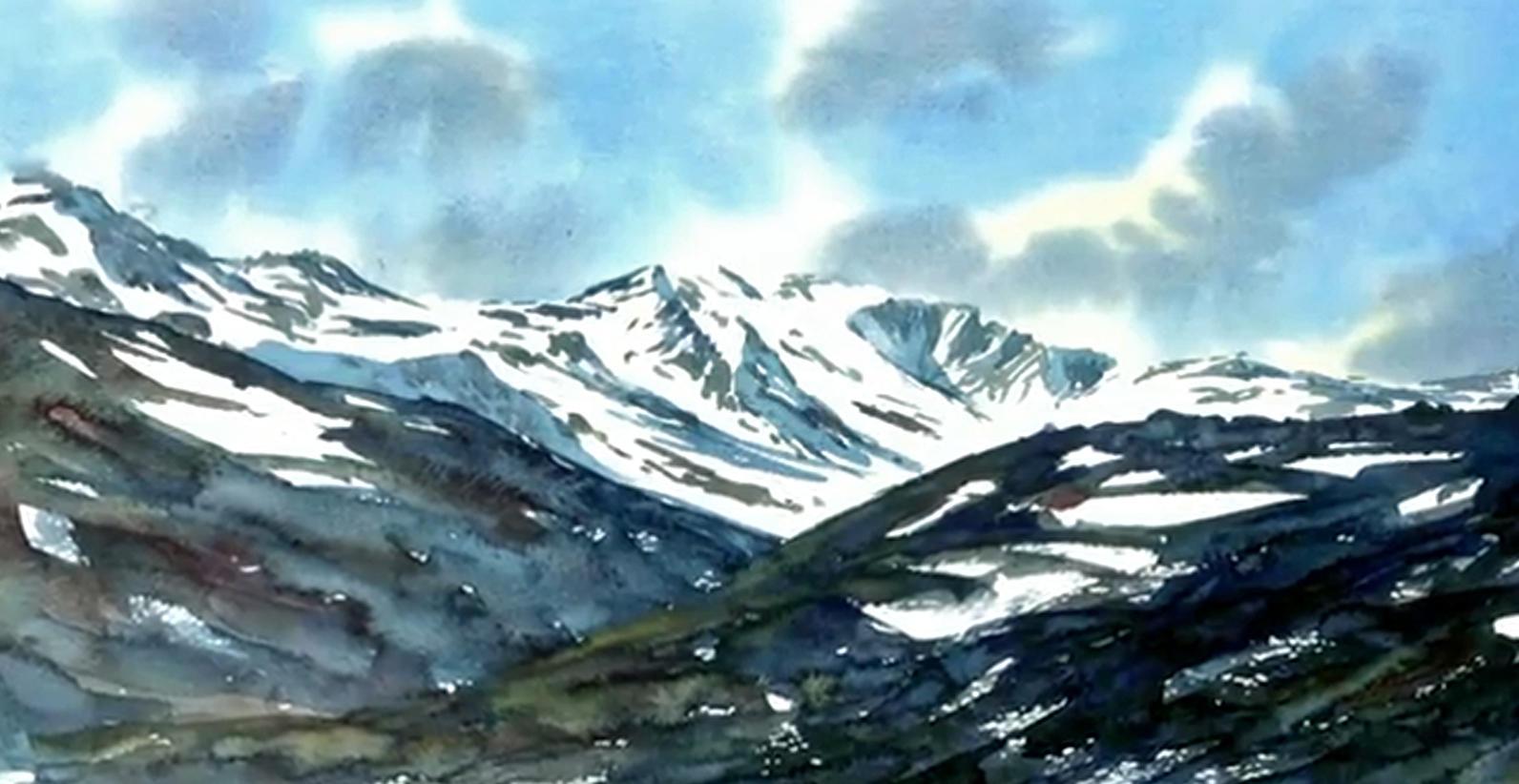 Eines der Werke aus Prinz Charles' Pinsel zeigt einen Berg im schottischen Hochland.