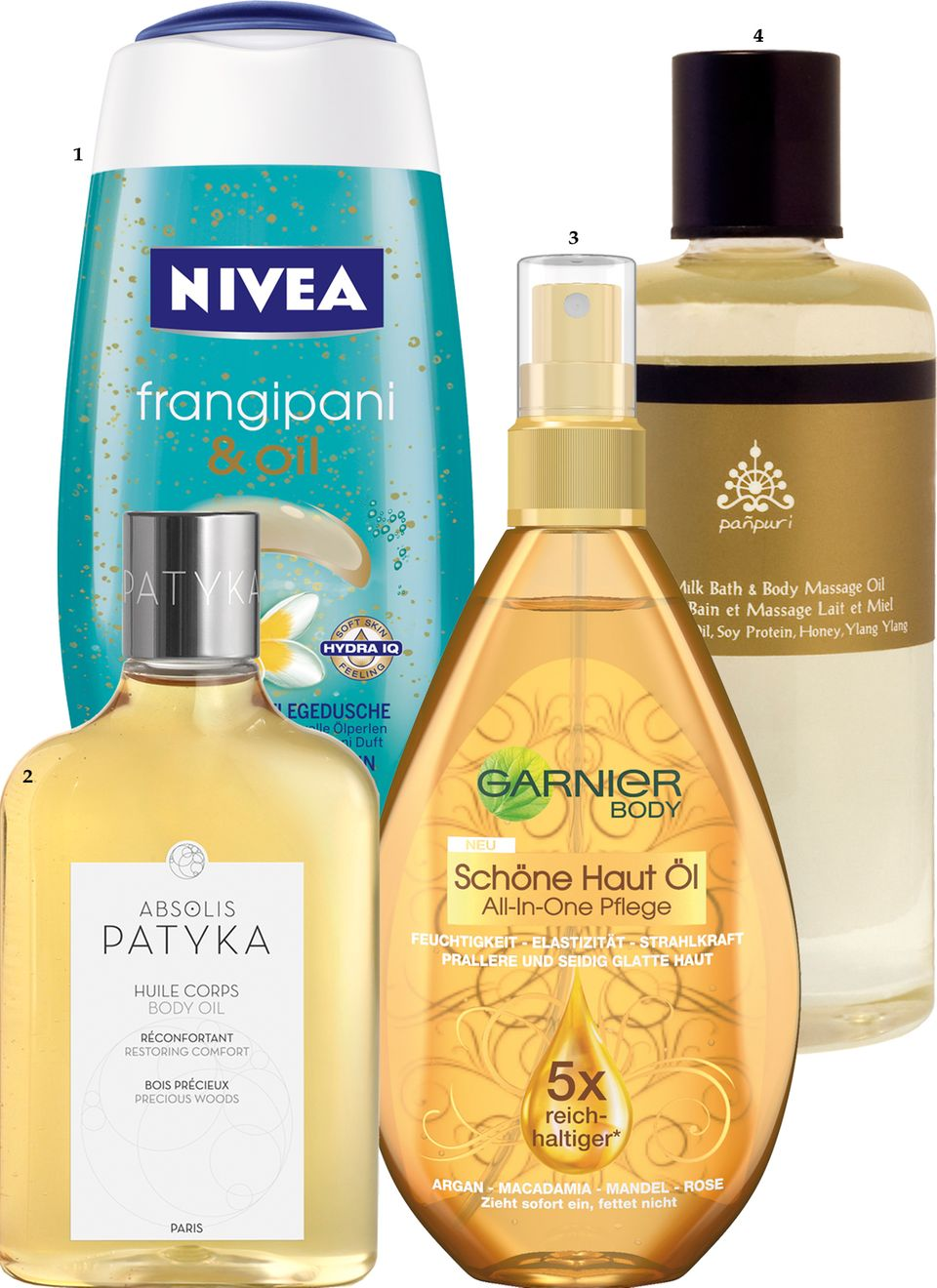 "Hochdosierte Bodybuilder   1 ""Pflegedusche Frangipani & Oil"" von Nivea, 250 ml, ca. 2,20 Euro; 2 Absolis Huile Corps"" von Patyka, 250 ml, ca. 50 Euro; 3 ""Schöne Haut Öl All-in-One Pflege"" von Garnier, 150 ml, ca. 7 Euro; 4 ""Honey Milk Bath & Body Massage Oil"" von Panpuri, 300 ml, ca. 60 Euro"