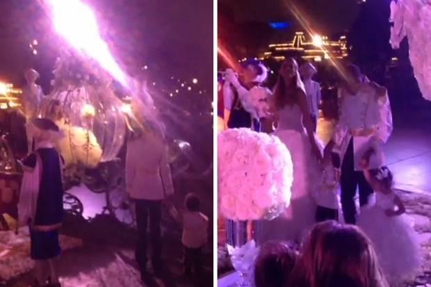 Mariah Carey kommt in einer gläsernen Kutsche vorgefahren und wird von Nick Cannon und den Kindern in Empfang genommen.