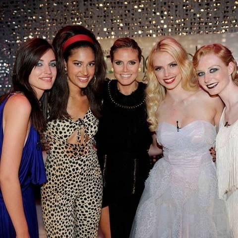 Luise, Lovelyn, Heidi Klum, Sabrina und Maike (v.l.)