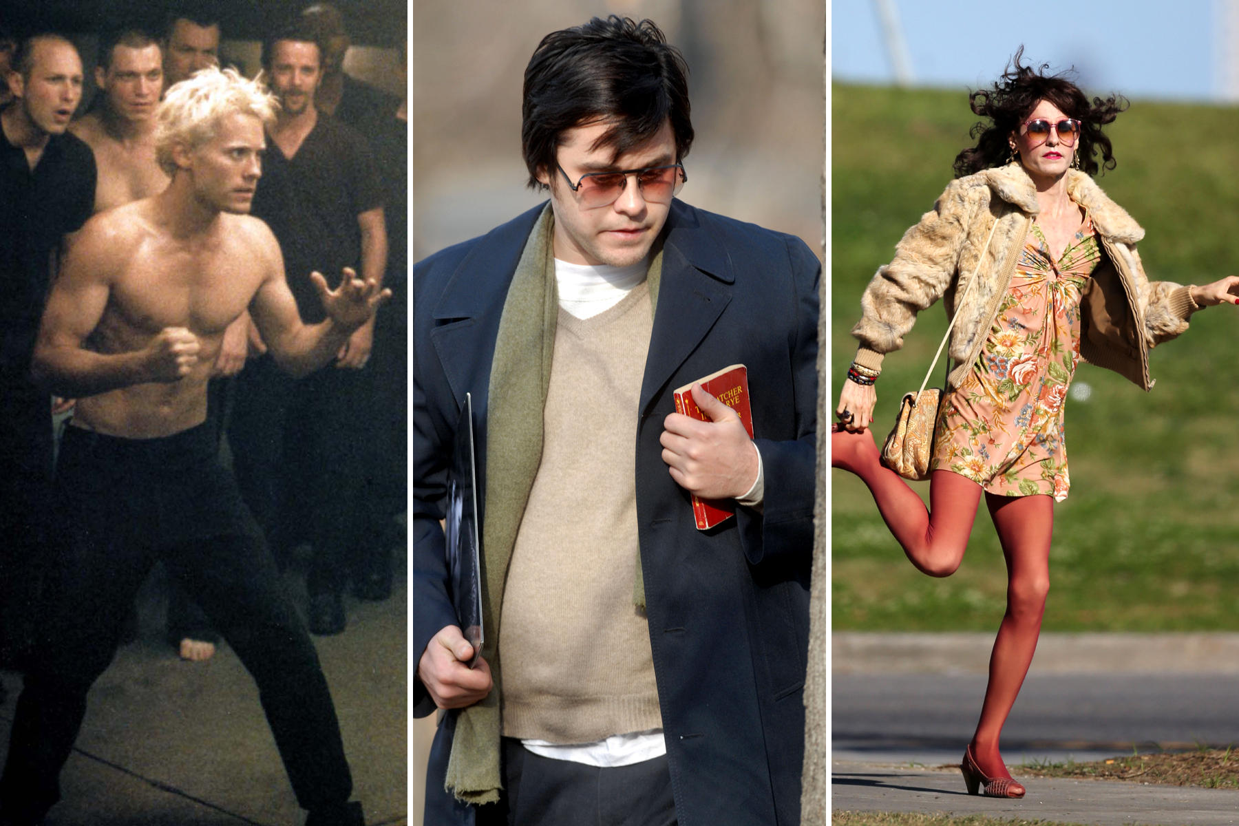 """Immer extrem: Jared, der Filmstar - Ja, das ist immer Leto! Seinen Durchbruch hatte er mit """"Fight Club"""" (1999). Als John-Lennon-Mörder nahm er 2007 für """"Chapter 27"""" rund 30 Kilo zu, für """"The Dallas Buyers Club"""" hungerte er sich Ende 2012 auf 52 Kilo herunter."""