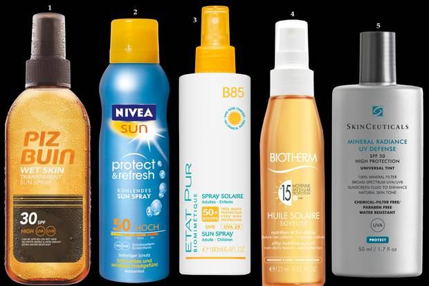 """1 Wirkt auf nasser und trockener Haut: """"Wet Skin Transparent Sun Spray SPF 30"""" von Piz Buin, 150 ml, ca. 19 Euro; 2 Sonnenschutz-Aerosol mit kühlender Menthol- Formel """"Protect & Refresh Kühlendes Sun Spray 30"""" von Nivea, 200 ml, ca. 12 Euro; 3 Mineralischer Sonnenschutz für Erwachsene und Kinder """"Spray Solaire SPF 50+"""" von Etat Pur, 190 ml, ca. 20 Euro; 4 Wasserfestes Sonnenschutzöl """"Huile Solaire LSF 15"""" von Biotherm, 125 ml, ca. 26 Euro; 5 """"Mineral Radiance UV-Defense SPF 50"""" von Skin Ceuticals, 50 ml, ca. 39 Euro."""