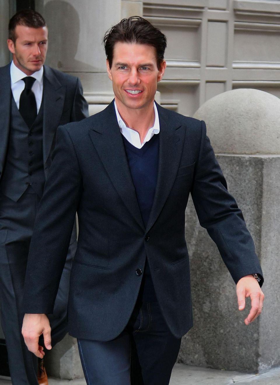 Teilen sie sich bald den roten Teppich? Schon lange soll Tom Cruise, 50, David Beckham (hinten) zur Schauspielerei raten.