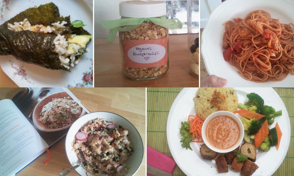 Gerichte aus meiner veganen Woche mit Alicia Silverstone: Nori-Wraps, Knuspermüsli mit Kokosflocken und Ahornsirup, Pasta mit Sellerie und Kohl, Radieschen-Tabbouleh und Regenbogen-Sojafleischrollen im veganen Restaurant.