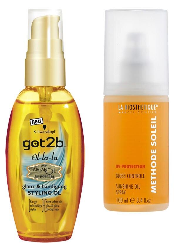 "Links: Styling-Öl ""Öl-La-La"" von got2be, 50 ml, ca. 6 Euro. Rechts:Öl-Spray mit UV-Filter ""Gloss Controle"" von La Biosthetique, 100 ml, ca. 17 Euro"