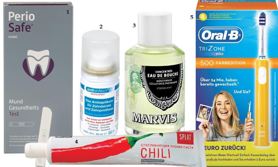 """1. """"Periosafe System"""" aus Mundgesundheitstest,– Zahncreme und Mundspülung, ca. 60 Euro; 2. Antiseptisches """"Dentalspray"""" von Anti-Infect, 30 ml,ca. 9 Euro; 3. """"Mouthwash – Strong Mint"""" von Marvis, 120 ml, ca. 20 Euro, über www.point-rouge.de; 4. """"Chili Spezial Zahnpasta"""" von Splat, 75 ml, ca. 7 Euro; 5. """"TriZone 500 Farbedition"""" von Oral-B, ca. 50 Euro"""