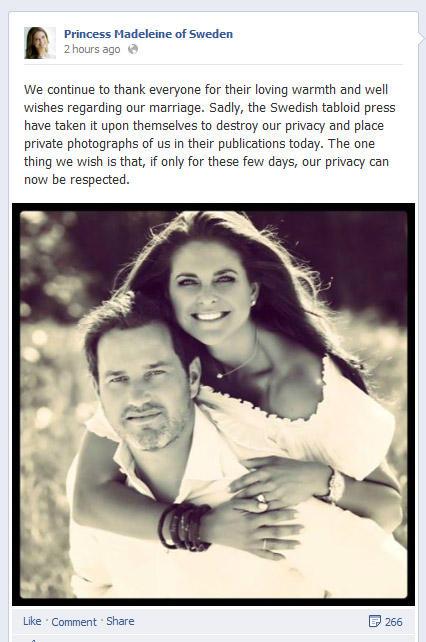Diese Worte veröffentlichte Prinzessin Madeleine noch am selben Tag und reagierte so auf die Bilder in der schwedischen Presse, die sie und ihren Mann ind en Flitterwochen zeigten.