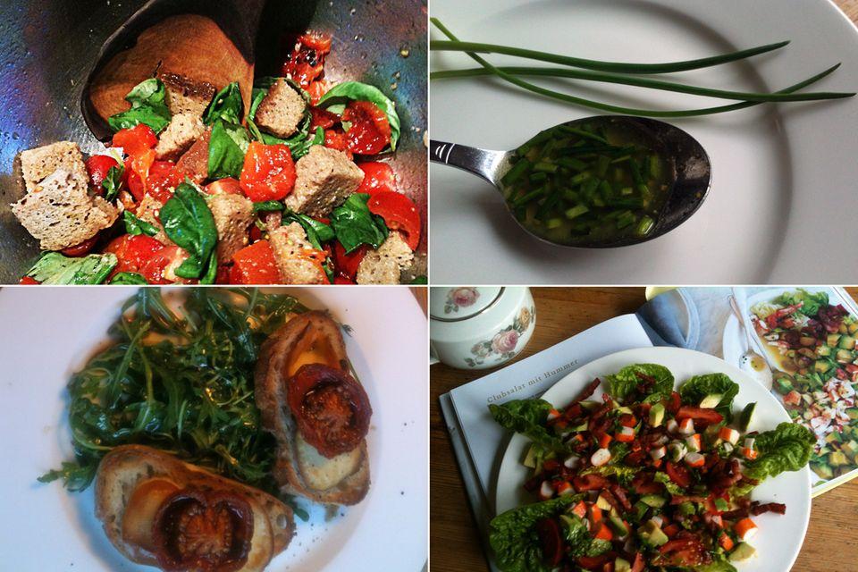 Kochen wie die Stars: Meine Ergebnisse: Oben links: Panzanella mit gerösteter Paprika, Tomate und Basilikum. Oben rechts: Schnittlauch-Vinaigrette. Unten links: Rucolasalat mit Räuchermozzarella und Crostini. Unten rechts: Clubsalat mit Hummer (in meinem Fall mit Surimi).