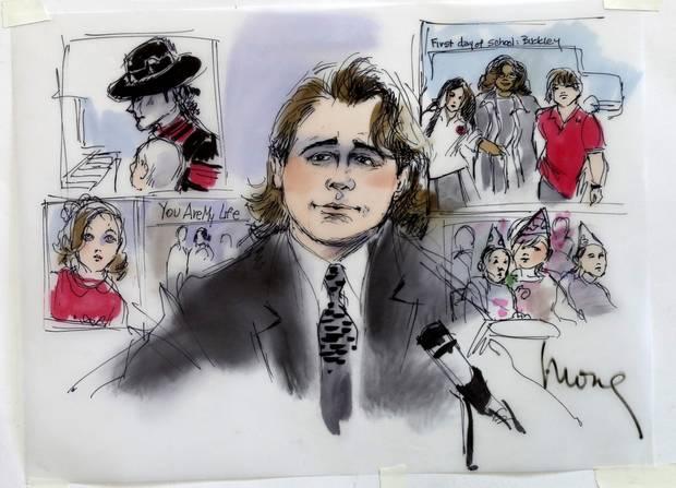 Diese Gerichtszeichnung zeigt Prince Michael Jackson bei seiner Aussage im Prozess gegen den Konzertvanstalter AEG.