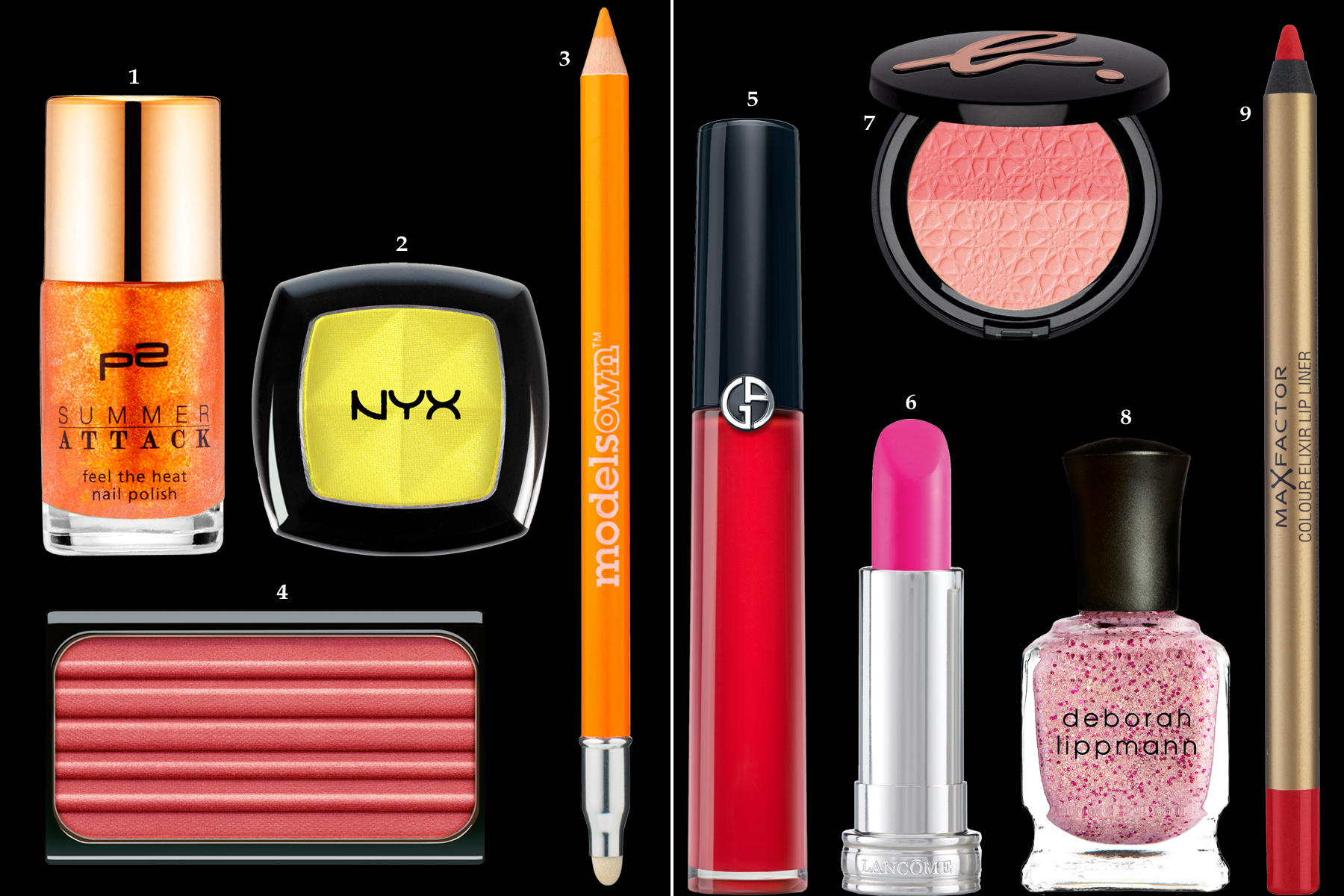 """1. Metallisch glänzender Nagellack """"Feel the heat nail polish – Orange"""" von P2, ca. 2 Euro, limitiert; 2. Hochpigmentierter Lidschatten """"Single Eye Shadow"""" von NYX, ca. 7 Euro, nur bei Douglas erhältlich; 3. Leuchtender Kajalstift """"Khol Neon Eyeliner Pencil"""" in """"Neon Orange"""" von Models Own, je ca. 5 Euro, über www.point-rouge.de; 4. Puder-Rouge """"Blusher – Vitamin Bomb"""" von Artdeco, ca. 9 Euro, limitiert; 5. Kristallglanz-Lipgloss mit hydratisierenden Ölen """"Flash Lacquer – Red"""" von Giorgio Armani, ca. 30 Euro; 6. Schön cremig: Lippenstift """"Pink Bonbon"""" von Lancôme, ca. 25 Euro; 7. Duo-Rouge """"Rosa Harmonie"""" von Agnès B., ca. 28 Euro; 8. Nagellack """"Mermaids – Kiss"""" von Deborah Lippmann, ca. 24 Euro, www.niche-beauty.de; 9. Matter Lippen-Konturenstift """"Colour Elixir Lipliner"""" von Max Factor, ca. 7 Euro"""
