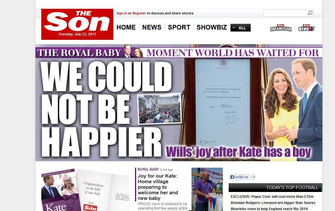 """Die Onlineausgabe des britischen Boulevardblatts """"The Sun"""" bennante sich nach der Geburt von Herzogin Catherines und Prinz Williams kleinem Jungen kurzerhand in """"The Son"""" um."""