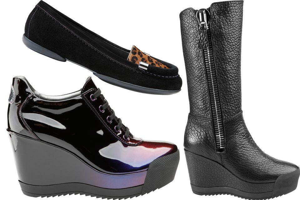 Die italienische Schuhmarke Geox steht für atmungsaktive Schuhe – diese Technologie steckt nun auch in den supercoolen Modellen der Nebenlinie, die Patrick Cox entworfen hat. Ab Herbst sind die Leo-Loafer, Lack-Wedges und Stiefel mit Supersize-Reißverschluss zu haben.