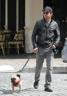 Jeremy Renner im Mai 2013 mit seinem Hund Hemi