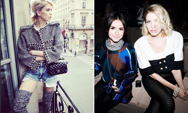 Ob ganz in Chanel (links) oder an der Seite von Freundin Miroslava Duma in der Frontrow: Elena Perminova ist im Fashion-Olymp angekommen.