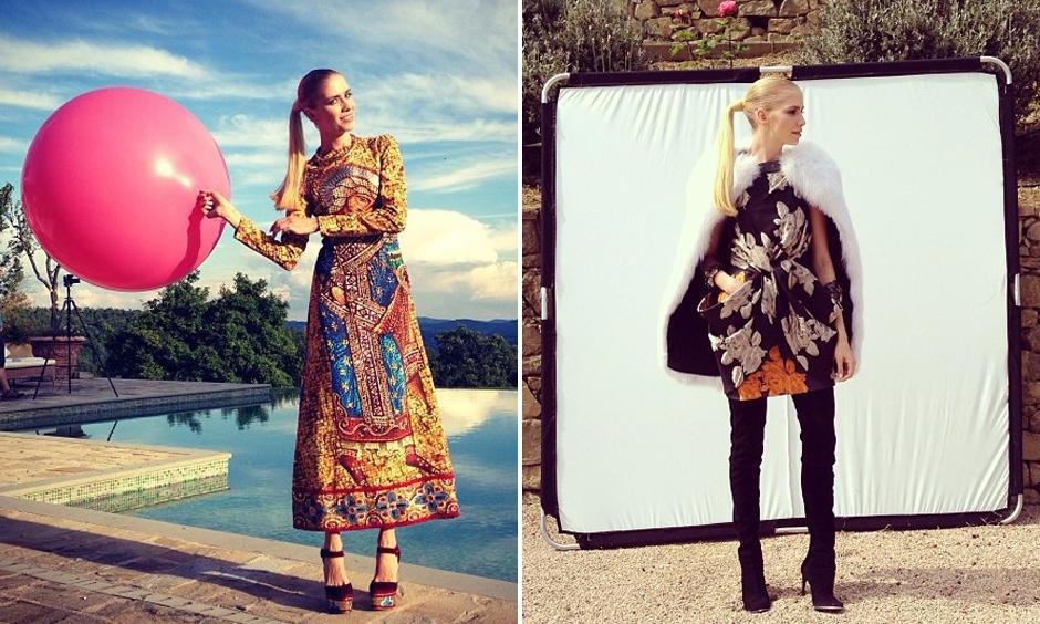 """Vom Shooting für die amerikanische """"Harper's Bazaar"""" veröffentliche Elena stolz einige Making-of-Bilder."""