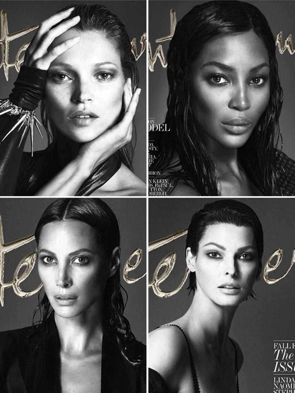 """Kate Moss, Naomi Campbell, Christy Turlington und Linda Evangelista für """"Interview""""-Magazin"""