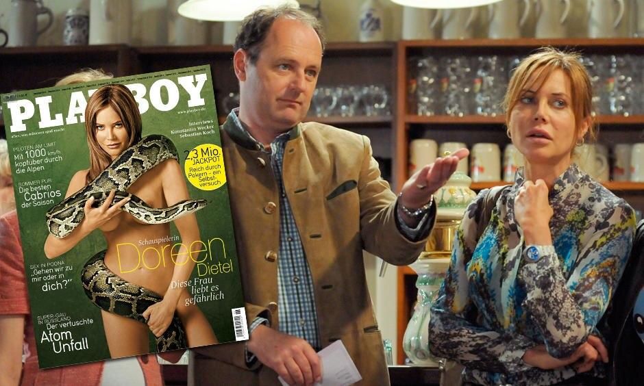 """In """"Dahoam is Dahoam"""", der Erfolgs-Soap des Bayerischen Rundfunks, spielt sie die Kosmetikstudiobesitzerin Trixi, deren Herz für Glanz und Glamour schlägt (hier mit Bernhard Ullrich). Und im """"Playboy"""" zeigte sie sich 2007 - nach einer beruflichen Durststrecke - hüllenlos mit Schlange."""