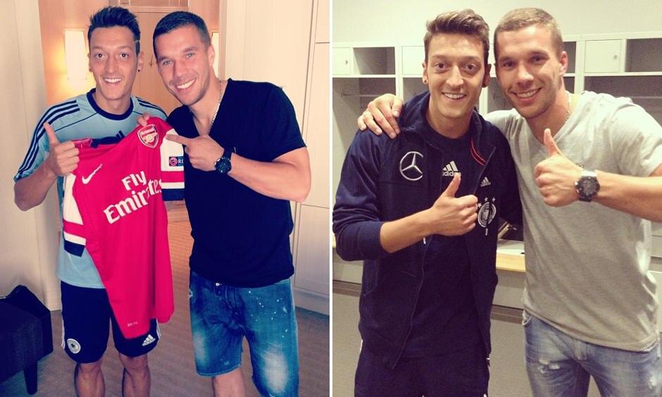 """""""Willkommen als neuer Gunner, Bro!"""" Teamkollege und Nationalmannschaftskamerad Lukas Podolski freut sich, künftig gemeinsam mit Mesut Özil beim FC Arsenal spielen zu können."""