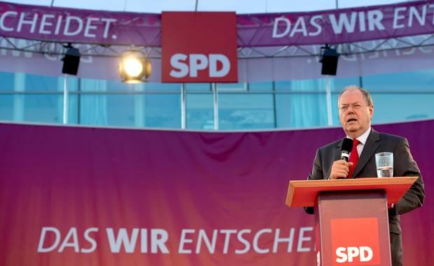 SPD-Kanzlerkandidat Peer Steinbrück spricht bei einer Wahlkampfveranstaltung.