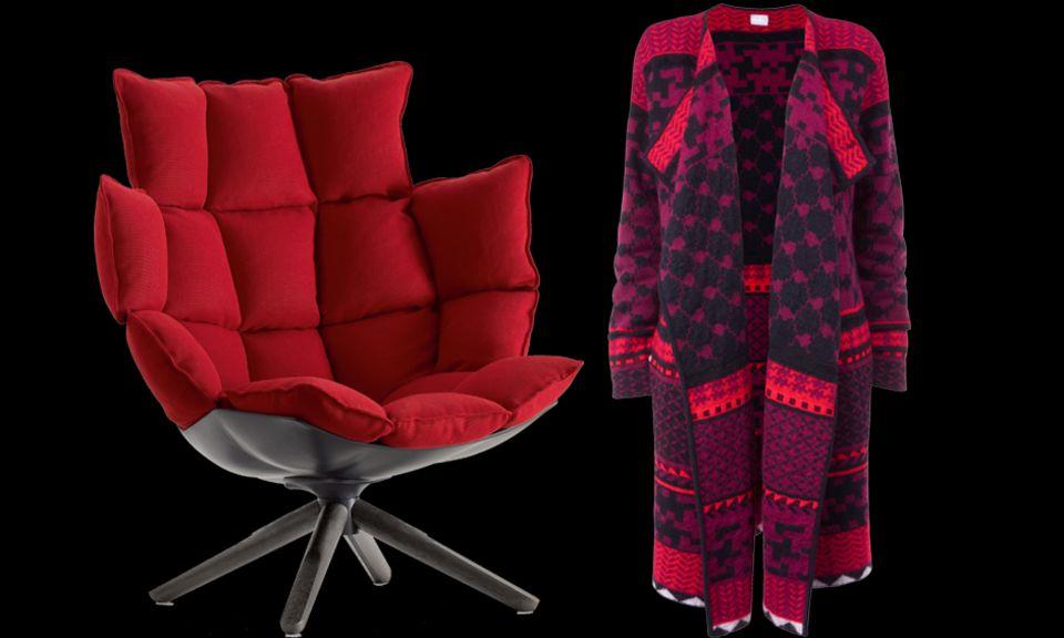 """Gepolsterte Gemütlichkeit: Sessel """"Husk"""" von B&B Italia. Der Cardigan von Lala Berlin lässt sich gut layern."""