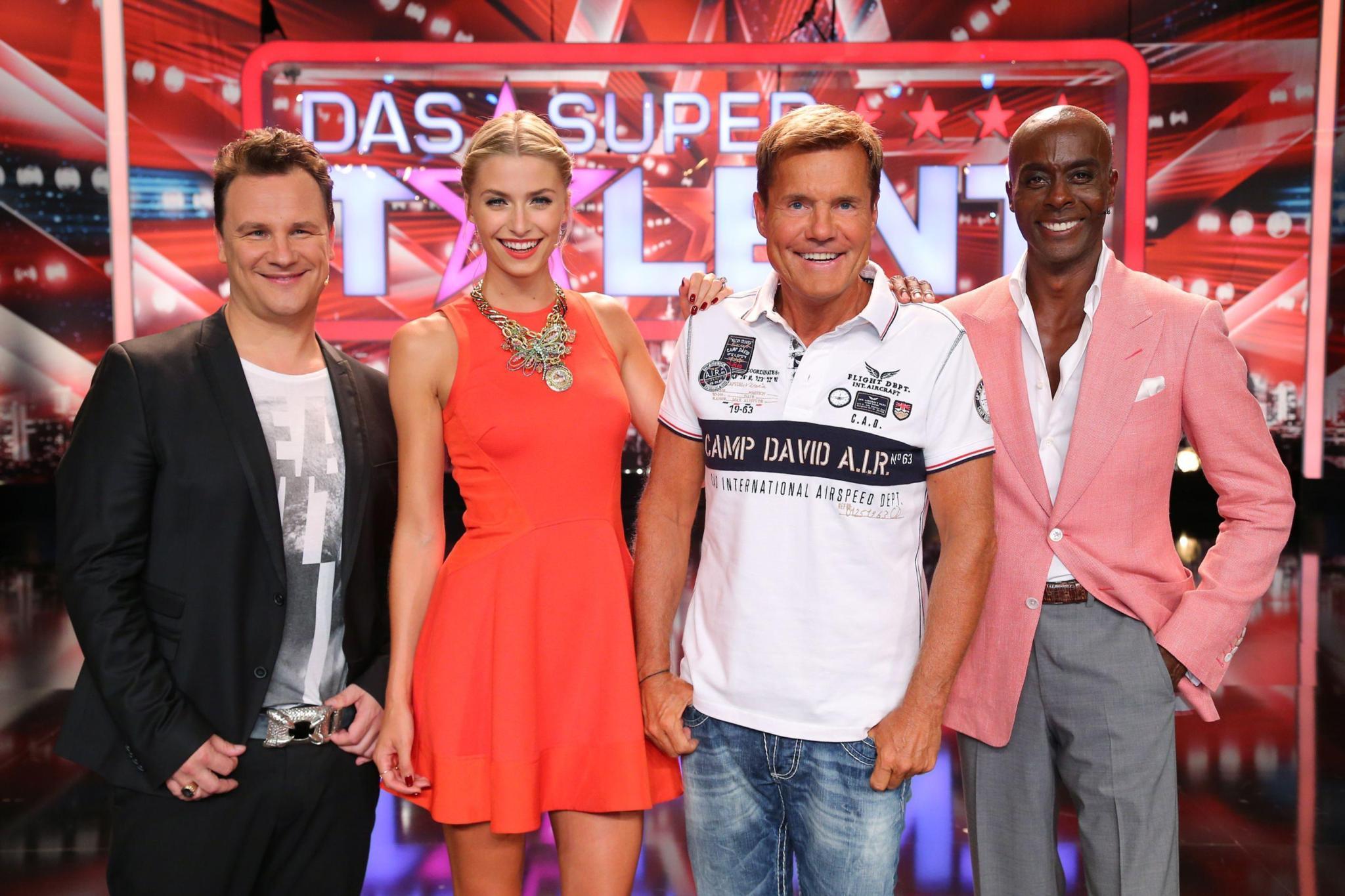 "Die ""Supertalent""-Jury 2013: Guido-Maria Kretschmer, Lena Gerke, Dieter Bohlen, Bruce Darnell"